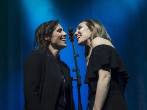 Rose Cousins, left, and KINLEY sing backup vocals for The East Pointers performance at the 2018 East Coast Music Awards gala in Halifax on Thursday, May 3, 2018.