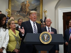 """President Donald Trump speaks during a signing ceremony for the """"Economic Growth, Regulatory Relief, and Consumer Protection Act,"""" in the Roosevelt Room of the White House, Thursday, May 24, 2018, in Washington.  In a dramatic diplomatic turn, Trump on Thursday canceled next month's summit with North Korea's Kim Jong Un, citing the """"tremendous anger and open hostility"""" in a recent statement by the North."""