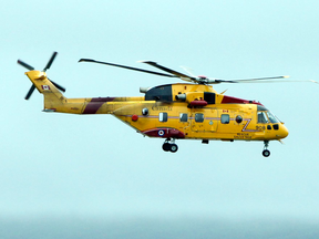 A Canadian Forces search and rescue CH-149 Cormorant helicopter.