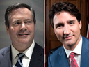 United Conservative Party leader Jason Kenney and Prime Minister Justin Trudeau.