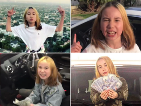 Images from Lil Tay's social media posts where she takes on the persona of someone living the high life in the Hollywood Hills.