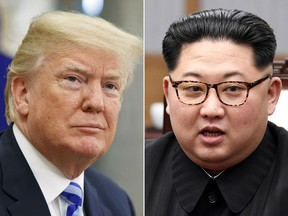 In this combination of file photos, U.S. President Donald Trump, left, in the Oval Office of the White House in Washington on May 16, 2018,  and North Korean leader Kim Jong Un in a meeting with South Korean leader Moon Jae-in in Panmunjom, South Korea, on April 27, 2018.