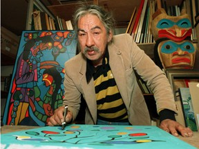"""1987 file photo of  Norval Morrisseau. Morgan concludes """"while Spirit Energy of Mother Earth may indeed be a fraudulent Morrisseau, there is an equal chance it is a real Morrisseau. … As a matter of law, what is important is that a tie goes to the Defendant."""""""