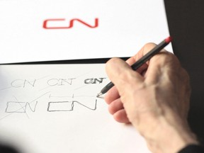 Sketching the CN logo.