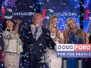 Ontario PC Leader Doug Ford and his family celebrate his party's election win on June 7, 2018.