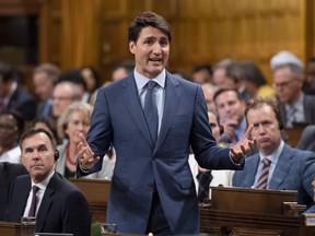Prime Minister Justin Trudeau rises during Question Period in the House of Commons on Parliament Hill in Ottawa on Wednesday, June 20, 2018.