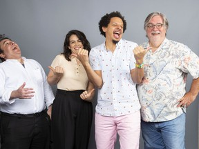 """Matt Groening, from left, Abbi Jacobson, Eric Andre and Josh Weinstein, cast members of the Netflix series """"Disenchantment,"""" pose for a photo during the Netflix portrait session at Television Critics Association Summer Press Tour at The Beverly Hilton hotel on Sunday, July 29, 2018, in Beverly Hills, Calif."""