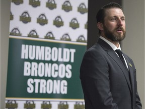 Humboldt Broncos head coach Nathan Oystrick speaks to reporters on July 3.
