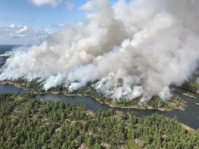 An aerial view taken over the Parry Sound 33 fire is shown in this handout image.