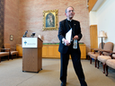 Bishop Lawrence Persico concludes a news conference at the St. Mark Catholic Center in Erie, Pa., on Aug. 14, 2018. Persico apologized to sex-abuse victims and detailed steps the diocese is taking to keep abuse from occurring again.