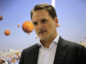 In this Thursday, Aug. 23, 2018 photo, the head of United Nations Relief and Works Agency for Palestine Refugees (UNRWA) Pierre Kraehenbuehl speaks during an interview with The Associated Press in Jerusalem. Kraehenbuehl said Thursday that he believes the U.S. slashed his budget early this year to take out its frustration with the Palestinian Authority but warns that the millions of people served by his organization cannot be wished away.