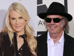 Daryl Hannah in 2014, Neil Young in 2014.