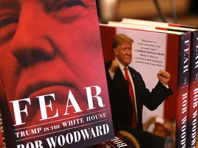 "The newly released book ""Fear"" by Bob Woodward is displayed at Book Passage on September 11, 2018 in Corte Madera, California."
