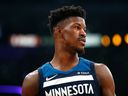 Jimmy Butler #23 of the Minnesota Timberwolves during the first half against the Los Angeles Lakers at the Staples Center on December 25, 2017 in Los Angeles, California.