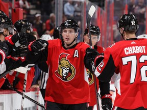 In this March 22 file photo, Ottawa Senators forward Matt Duchene celebrates his goal against the Edmonton Oilers.