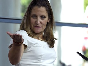 Canada's Foreign Affairs Minister Chrystia Freeland speaks during a news conference at the Canadian Embassy after talks at the Office of the United States Trade Representative, in Washington, Friday, Aug. 31, 2018.