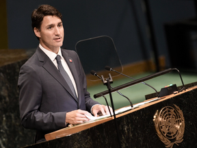 Prime Minister Justin Trudeau addresses the Nelson Mandela Peace Summit on Sept. 24, 2018 at the United Nations in New York.