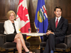 Alberta Premier Rachel Notley and Prime Minister Justin Trudeau meet in Edmonton on Sept. 5, 2018.