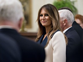 First lady Melania Trump in the East Room of the White House on Sept. 18, 2018. MUST CREDIT: Andrew Harrer, Bloomberg