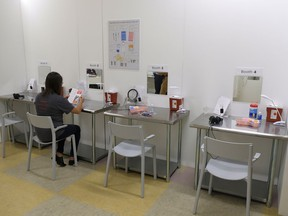 File - In this Aug. 29, 2018 file photo, are booth injection stations at Safer Inside, a realistic model of a safe injection site in San Francisco. California Gov. Jerry Brown vetoed legislation late Sunday, Sept. 30, 2018, that would have given San Francisco permission to test-open supervised drug injection sites. San Francisco's mayor, London Breed, has promised to open such a site. Breed, who was elected in June, lost a sibling to drug overdose and acknowledges that she has grappled with the idea.
