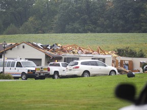 The assisted living section of Rolling Fields Elder Care was damaged by a tornado in Conneautville, Pa., Tuesday, Oct. 2, 2018. Authorities say a tornado struck a nursing home in northwestern Pennsylvania, blowing a roof off one building and causing moderate to heavy damage. No serious injuries were reported.