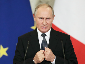 """Russian President Vladimir Putin: """"If (missiles) are deployed in Europe, we will naturally have to respond in kind."""""""