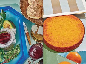 Root-to-Leaf Beet Burgers, left, and Whole Orange Almond Cake