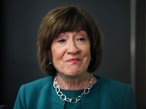 In this Sept. 21, 2018 photo, Sen. Susan Collins, R-Maine, speaks to news media at Saint Anselm College, in Manchester, N.H.