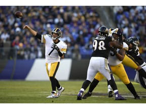 Pittsburgh Steelers quarterback Ben Roethlisberger (7) throws to a receiver in the second half of an NFL football game against the Baltimore Ravens, Sunday, Nov. 4, 2018, in Baltimore.