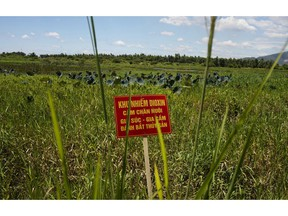 """FILE - In this Aug. 9, 2012, file photo, a warning sign stands in a field contaminated with dioxin near Danang airport, during a ceremony marking the start of a project to clean up dioxin left over from the Vietnam War, at a former U.S. military base in Danang, Vietnam. The sign reads; """"Dioxin contamination zone - livestock, poultry and fishery operations not permitted."""" Vietnam and the United States have finished cleaning up dioxin contamination at the airport caused by the transport and storage of the herbicide on and around the area."""
