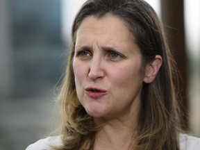 Minister of Foreign Affairs Chrystia Freeland speaks to media on the roof of the Panamericano Hotel in Buenos Aires, Argentina on Thursday, Nov. 29, 2018., to attend the G20 Summit. THE CANADIAN PRESS/ ORG XMIT: SKP108
