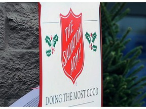 A Salvation Army sign is seen in Nacogdoches, Texas on Nov. 23, 2012. The Manitoba Liquor and Lotteries Corporation says the Salvation Army will no longer be allowed to collect donations for the needy at any of its liquor stores.