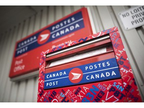 A mail box is seen outside a Canada Post office in Halifax on Wednesday, July 6, 2016. Salvation Army national director of marketing and communications John McAlister says the recent Canada Post strike is to blame for a 40 per cent decline in the number of donations its direct mail program has received so far.