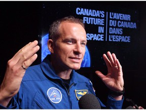 Canadian astronaut David Saint-Jacques speaks to reporters during a news conference in Ottawa on June 2, 2015.