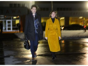Prime Minister Justin Trudeau and wife Sophie Gregoire Trudeau depart Ottawa on Wednesday, Nov. 28, 2018, on route to Buenos Aires, Argentina to attend the G20 Summit. Prime Minister Justin Trudeau arrives in Buenos Aires this morning for a high-stakes G20 summit set to begin on Friday and draw global attention over trade tensions between China and the United States.