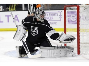 Los Angeles Kings goaltender Jack Campbell stops a Columbus Blue Jackets shot during the first period of an NHL hockey game Saturday, Nov. 3, 2018, in Los Angeles.