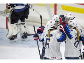 United States players celebrate a goal against Finland during the second period of the 2018 Four Nations Cup opening game in Saskatoon, Tuesday, November 6, 2018.