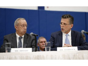 As Steve Bryant, left, the President of Columbia Gas of Massachusetts looks on, Joe Hamrock, right, President and CEO of NiSource, speaks to U.S. Senators and Representatives during a hearing on gas pipeline safety in the Merrimack Valley Monday, Nov. 26, 2018, in Lawrence, Mass.