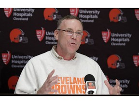 FILE - In this April 19, 2018, file photo, Cleveland Browns general manager John Dorsey answers questions about the draft during a news conference at the NFL football team's training camp facility in Berea, Ohio. Dorsey is heading the team's search for a new coach. Owners Dee and Jimmy Haslam recently fired coach Hue Jackson, who won just three of 40 games over two-plus seasons.