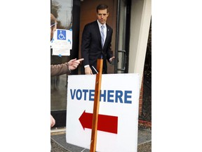 Rep. Conor Lamb, D-Pa, who is running against Rep Keith Rothfus, R-Pa in Pennsylvania's 17th Congressional District, exits his polling place after voting Tuesday, Nov. 6, 2018 in Mt. Lebanon, Pa.