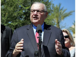 FILE - In this May 22, 2018, file photo, former Maricopa County Sheriff Joe Arpaio speaks during a campaign event in Phoenix. A judge who ordered taxpayer-funded compensation for Latinos who were illegally detained when Arpaio defied a 2011 court order has declined to give the victims six more months to apply for the money. The ruling means the one-year period for filing claims ends Dec. 3.