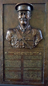 A bronzed relief of Lt.- Col. Samuel Sharpe created by artist Tyler Briley.