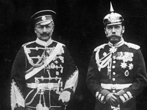 Kaiser Wilhelm II of Germany, left, and his cousin Czar Nicholas II of Russia are seen in a photo from 1905.