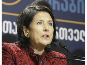 Salome Zurabishvili, former Georgian Foreign minister and presidential candidate, speaks during a news briefing dedicated to the results of the presidential election at her campaign headquarter in Tbilisi, Georgia, Wednesday, Nov. 28, 2018. Two of Georgia's former foreign ministers are facing off against each other Wednesday in a tight runoff that will mark the last time Georgians elect their head of state by popular vote.