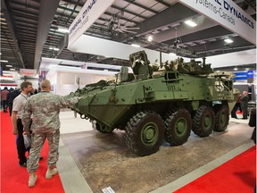 The LAV 6 armoured troop carrier on display as the annual trade fair for military equipment known as CANSEC took place at the EY Centre on May 28, 2014.