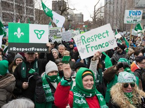 Canadian Francophones rally in front of the Human Rights building during the Franco-Ontario Day of Action in Ottawa, Ontario on December 1, 2018.