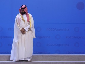 Saudi Arabia's Crown Prince Mohammed bin Salman during the G20 Leaders' Summit family photo on November 30, 2018 in Buenos Aires.