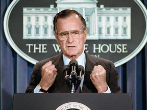 U.S. President George H.W. Bush holds a news conference at the White House in Washington, June 5, 1989.