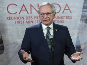 New Brunswick Premier Blaine Higgs responds to questions during a news conference at the first ministers meeting in Montreal on Friday, December 7, 2018.