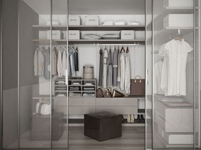 Everything has its place in this walk-in closet.